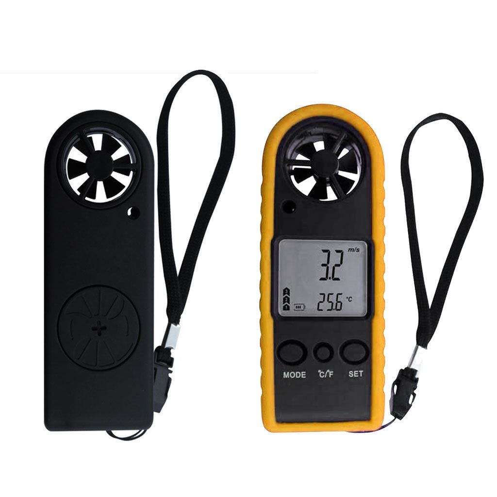 MagiDeal Handheld Digital LCD Backlight Anemometer Airflow Gauge Wind Speed Air Velocity Temperature Chill Meter Thermometer - Yellow