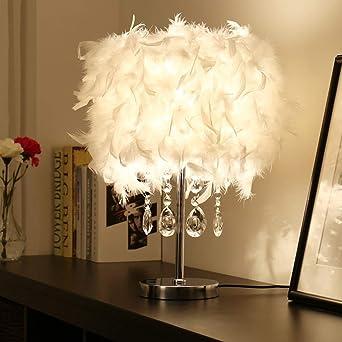 Lámparas de mesa románticas LED, decoración nórdica de plumas rosa ...