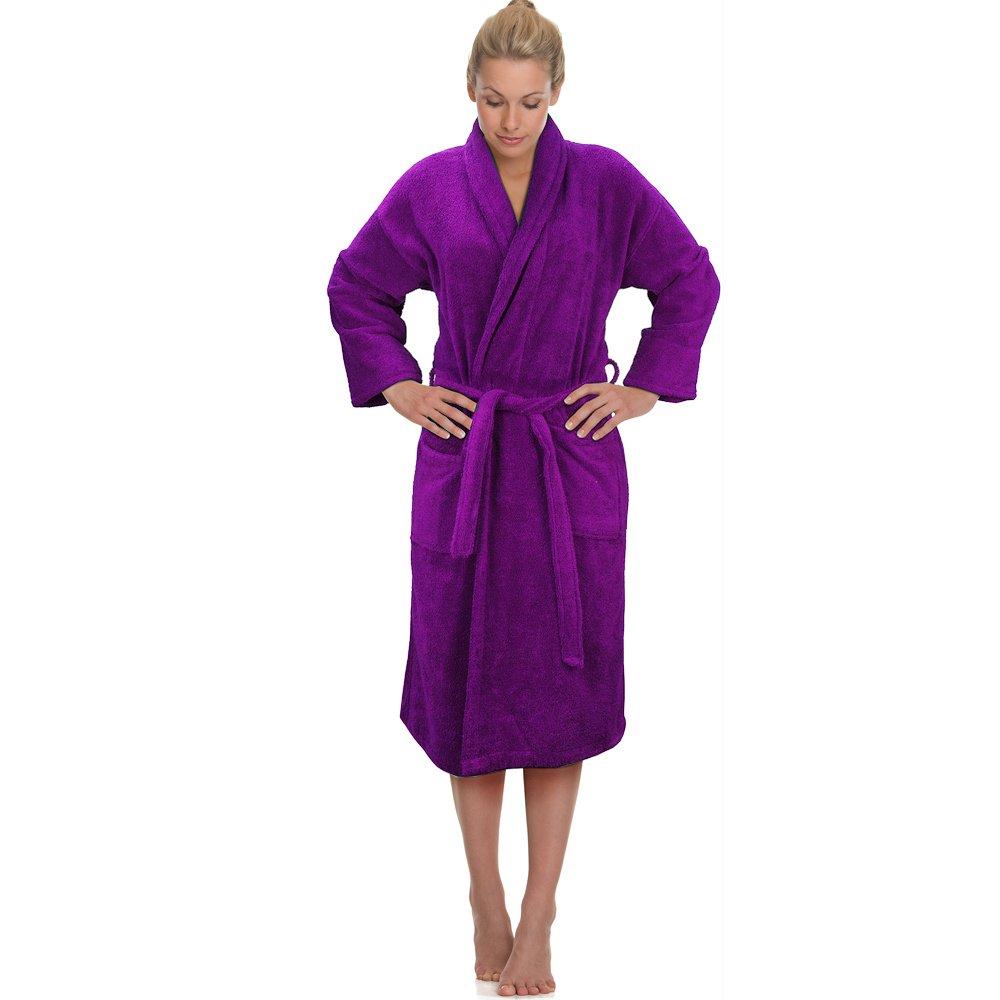 Aubergine / Purple 100% Cotton Terry Towelling Bathrobe Bath Robe + ...
