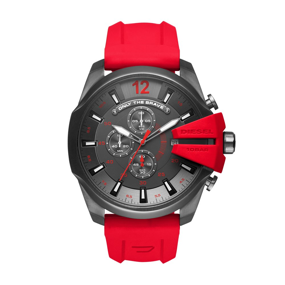 Diesel Men's Mega Chief Quartz Stainless Steel and Silicone Chronograph Watch, Color: Grey, Red (Model: DZ4427) by Diesel