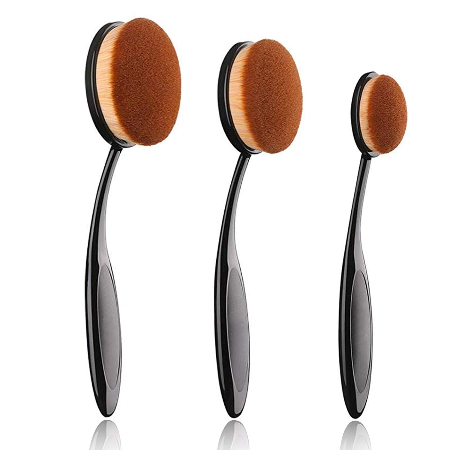 JOSALINAS Oval Makeup Brush Set Upgraded 3pcs Fast Flawless Application Toothbrush Foundation Concealer Blusher Liquid Cream Powder Cosmetic Blending Tools