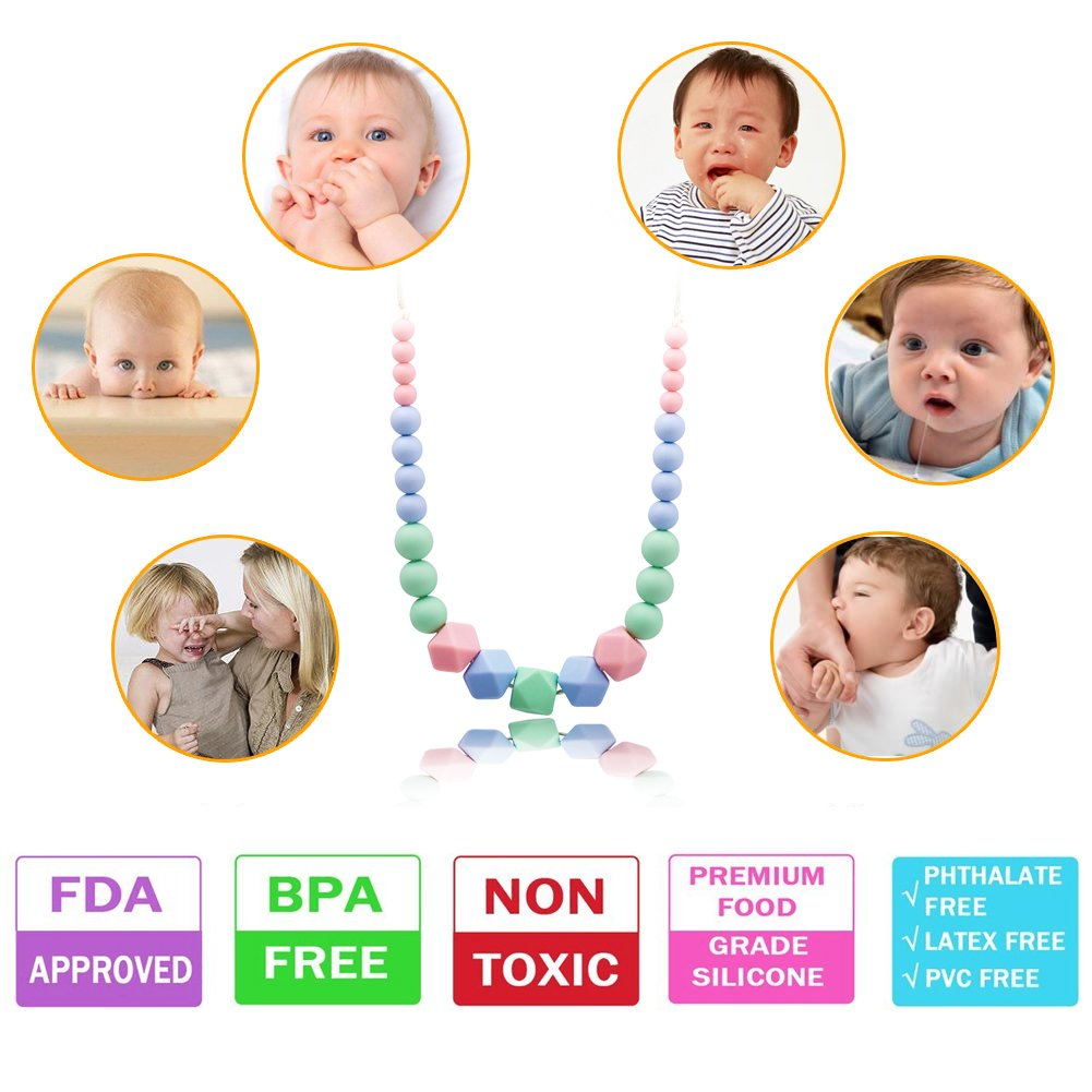 Silicone Teething Necklace for Mum,KEFU teethers Silicone Beads for Babies Breastfeeding and Wearing Nursing Jewellery 100% BPA Free,Silicone Teething Beads for Baby