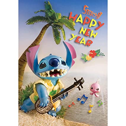 disney stitch a happy new year 3d lenticular greeting card 3d postcard
