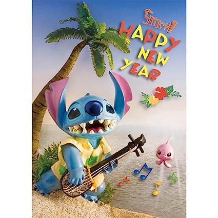 disney stitch a happy new year 3d lenticular greeting card 3d postcard