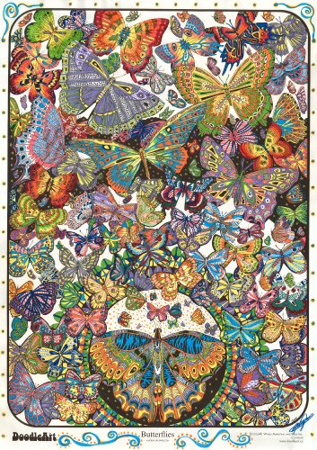 """The Original DoodleArt by PlaSmart - Butterflies, Adult Coloring 24""""x 34"""" Poster & Non- Toxic  Precision 12 Marker Set, Reduce Stress, Ages 8 and Up from DoodleArt"""