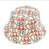 Flamingo Print Bucket Hat Animal Pattern Fisherman Hats Summer Reversible Packable Sun Cap (Beige)