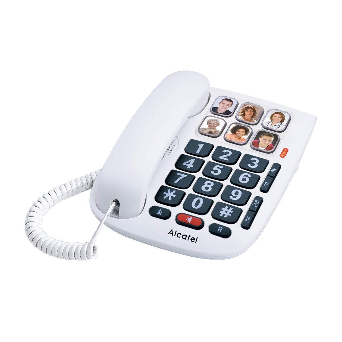 teléfono con cable números con foto teclas grandes color blanco