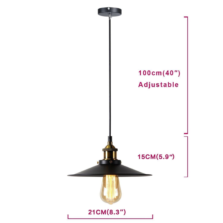 Glighone Luz Colgante 40W Lámpara de Techo Lámpara Industria Luz de Pantalla de Metal Estilo Vintage Retro Casquillo E27 No Incluye Bombilla, La ...