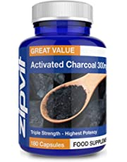 Activated Charcoal 300mg | 180 Capsules (not Tablets) | Triple Strength by Zipvit