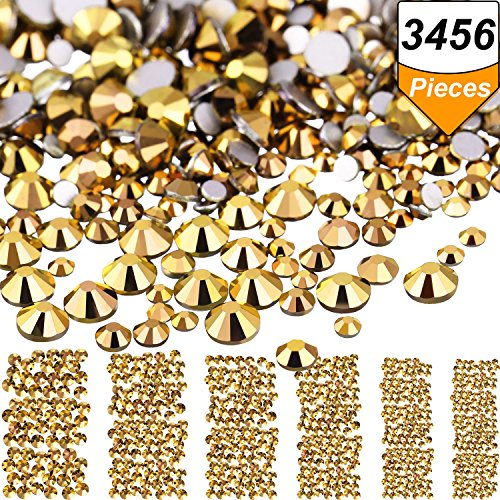 Bememo 3456 Pieces Nail Crystals AB Nail Art Rhinestones Round Beads Flatback Glass Charms Gems Stones, 6 Sizes for Nails Decoration Makeup Clothes Shoes (Gold, Mixed SS4 5 6 8 10 12) by Bememo