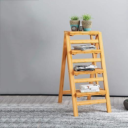 Escalera de madera de 3 peldaños Escalera plegable Taburete, Ahorro de espacio Creativa Escalera plegable Escalera de tijera multifunción interior Taburetes antideslizantes de la banda de rodadura, He: Amazon.es: Hogar
