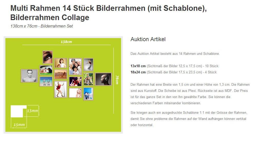 Amazon.de: 14er A SET Fotocollagen Silber Bilderrahmen Foto Bild ...