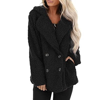 KYLEON Women's Coat Fashion Fleece Fluffy Sherpa Lapel Double-Breasted Pea Coat Parkas Jacket Overcoat Outwear with Pockets: Clothing