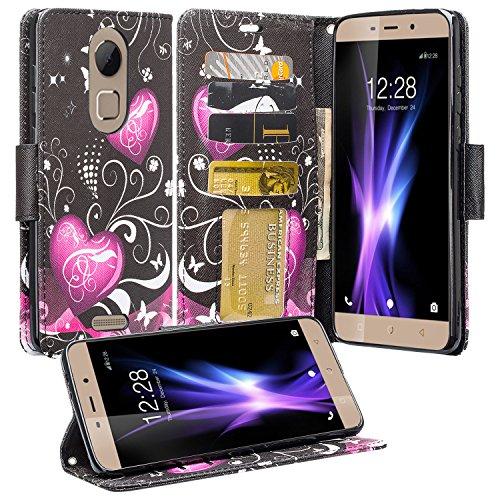 Coolpad REVVL Plus Case (T-Mobile), REVVL Plus Wallet Case, SOGA [Pocketbook Series] PU Leather Magnetic Flip Design Wallet Case for Coolpad REVVL Plus - Black Heart