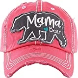 Funky Junque H-212-MBEAR52 Distressed Baseball Cap Vintage Dad Hat - Mama (Large) Bear (Coral)