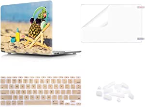 "WYGCH 4 in 1 Beach Pineapple Plastic PC Hard Case Shell+ Keyboard Cover+ Screen Protector+ Dustproof Plug Compatible MacBook Air 11.6"" A1465 A1370"