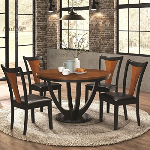 - Coaster Home Furnishings Boyer 5-Piece Round Table Dining Set Black and Amber