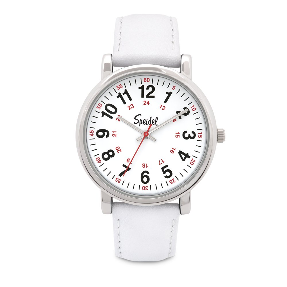 Speidel Medical Scrub Watch – Genuine Leather Band, 24 Hour Markings, Second Hand, Quick Read Face