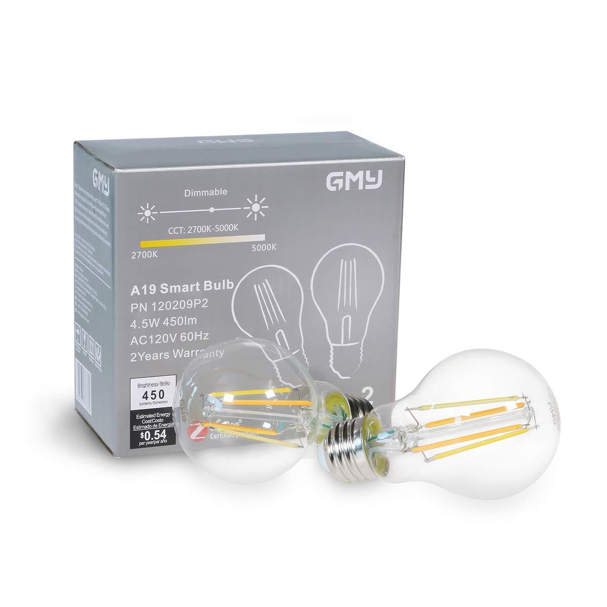 調光機能付きLEDスマート電球 Alexa(エコープラグのみ) 4.5W ハブ不要 GMY A19 LED電球 40ワット相当 2700-5000K 2個パック B07KG4C46J