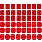 SUNMENCO 48pcs Red 3M VHB Adhesive Sticker ( 24 Curved 24 Flat ) Double Side Adhesive Tape Action Camera Accessories kits for GoPro Hero 6 5 4 3 2/ xiao mi yi / AKASO / Sony Sports dvr