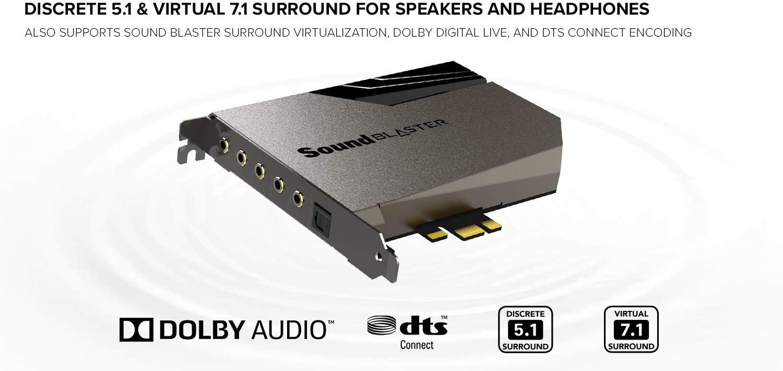 127dB DNR ESS SABRE-class 9018 DAC Quad-Core Processor Xamp Discrete Custom Bi-amp Discrete 5.1//Virtual 7.1 Dolby DTS Encoding Black Creative Sound Blaster AE-7 Hi-Res Internal PCIe Sound Card