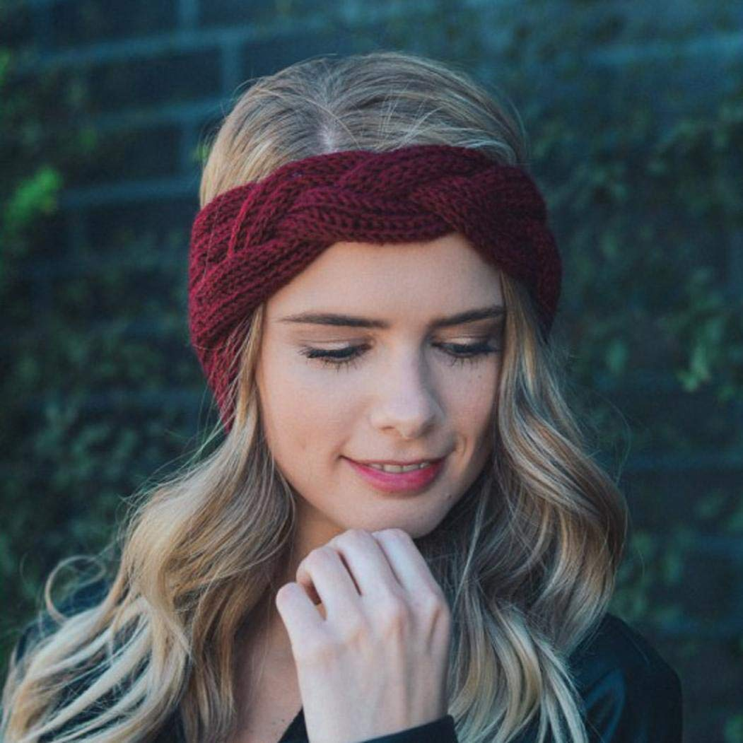 Appoi Headband Headwrap Women Wool Knotted Knitted Headbands Solid Color Elastic Stretchable Winter Warm Head Wrap Wide Non Slip Fashion Hair Accessories (Red) by Appoi Headband Headwrap (Image #2)