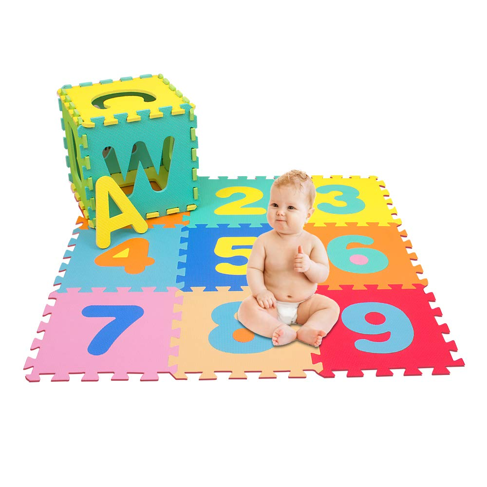 Floor Mats English Alphabet 0-9 A-Z Baby Playpen Kids Activity Centre Safety Play Yard Home Indoor Outdoor New Pen with Activity 8 Panel Playpen with Both Mats and Numeric Number