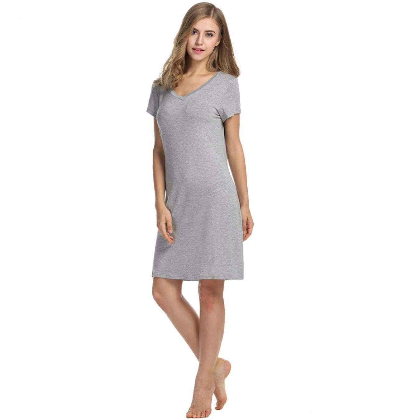 NCOEM Woman Summer Soft Sleep Dress Womens Nightgowns Nightshirts Nightdress V-Neck Nightwear Sleepwear at Amazon Womens Clothing store: