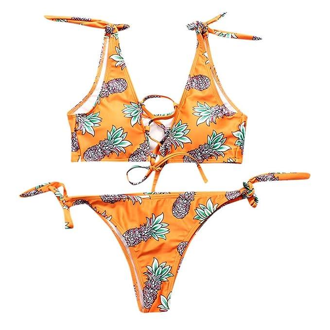 d389031e429d Daringjourney Bañador Naranja Estampado de piña para Mujer Bikini ...