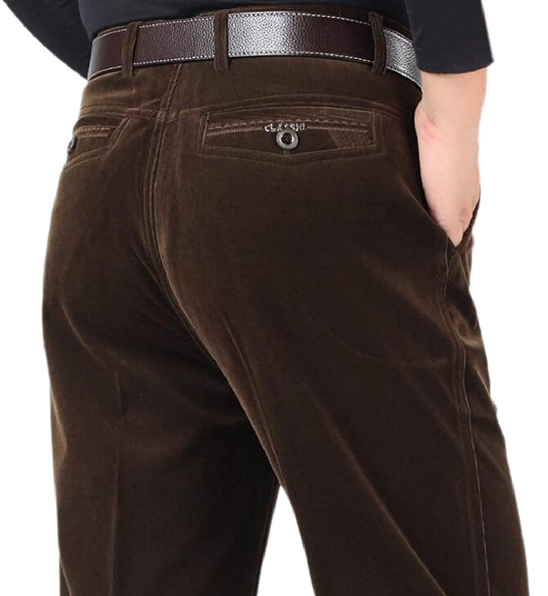 Ptyhk RG Men Corduroy Stretchy Hi Waist Casual Straight Casual Pants
