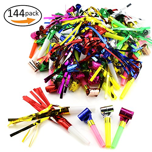 Weoxpr 144pcs Two Kinds of Noisemakers Blowouts Party Horns,