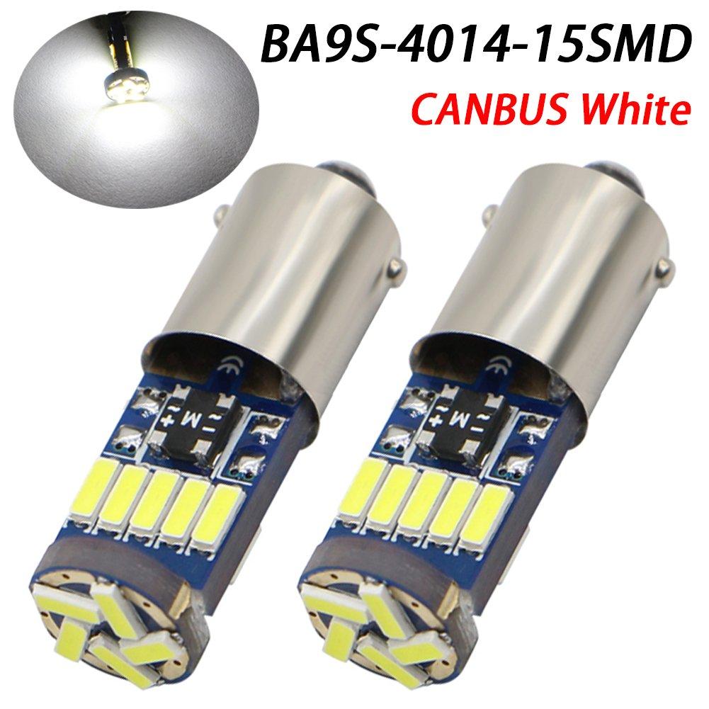 TABEN 10pcs Canbus BA9s LED Bulb 15 SMD 4014 Chipset BA9S H6W T4W Parking Light Backup Reversing Side Light Bulb Error Free White Light Bulb 12V