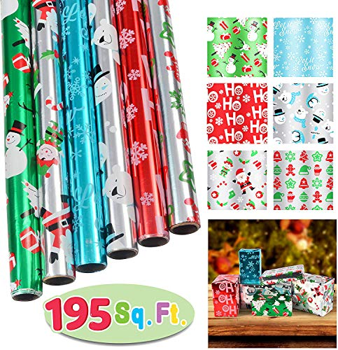 6 Rolls Foil Wrapping Paper Set (30