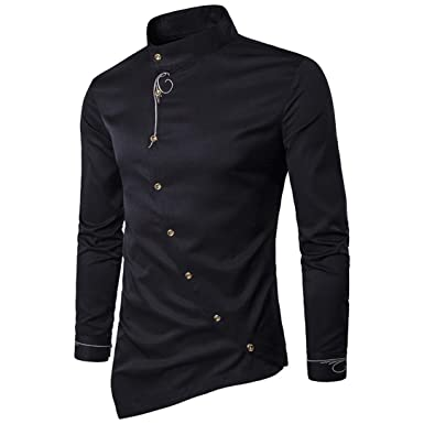 Sunhusing Men Casual Slanting Irregular Stand Collar Embroidered Button Long Sleeve Shirt
