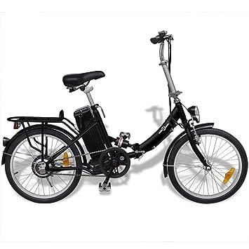 XuzhEU Bicicleta Eléctrica Plegable de Aluminio Batería Litio-Ion Negro