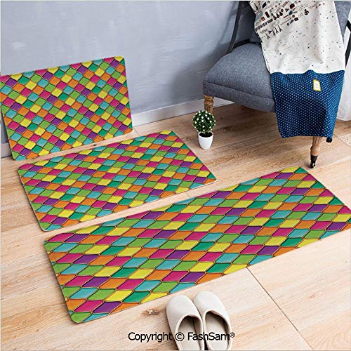 3 Piece Non Slip Flannel Door Mat Vivid Colored Stained Glass Style Pattern Wavy Lines Curves Oval Shapes Modern Decorative Indoor Carpet for Bath Kitchen(W15.7xL23.6 by W19.6xL31.5 by W31.4xL47.2)