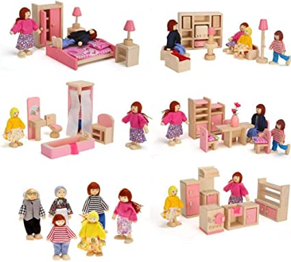 The Fully Furnished Bundle by Imagination Generation 41 Pieces 5 Sets of Colorful Wooden Dollhouse Furniture