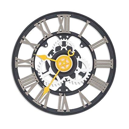 Relojes de pared Guyuan Reloj Digital Romano Europeo Industrial Personalidad Retro Creativo Sala de Estar Dormitorio