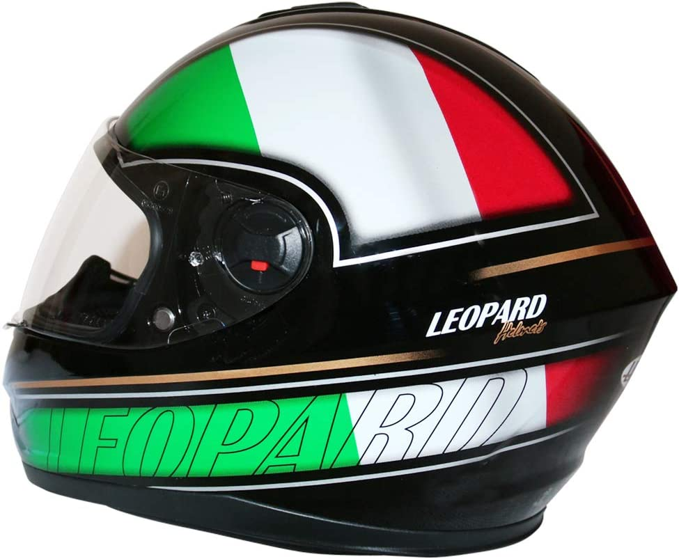 57-58cm Leopard LEO-828 DVS Motorradhelm Integralhelm Rollerhelm Sturzhelm mit Doppelvisier Sonnenblende Italien M
