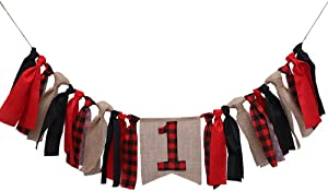 Lumberjack Highchair Banner Timber Buffalo Plaid Baby Boy First Birthday Party Photo Backdrop