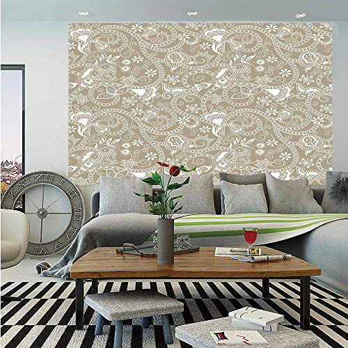 Floral Wall Mural,Monochrome Abstract Shapes Lines Swirls Flower and Leaf Silhouettes Checkered Design,Self-Adhesive Large Wallpaper for Home Decor 55x78 inches,Tan White