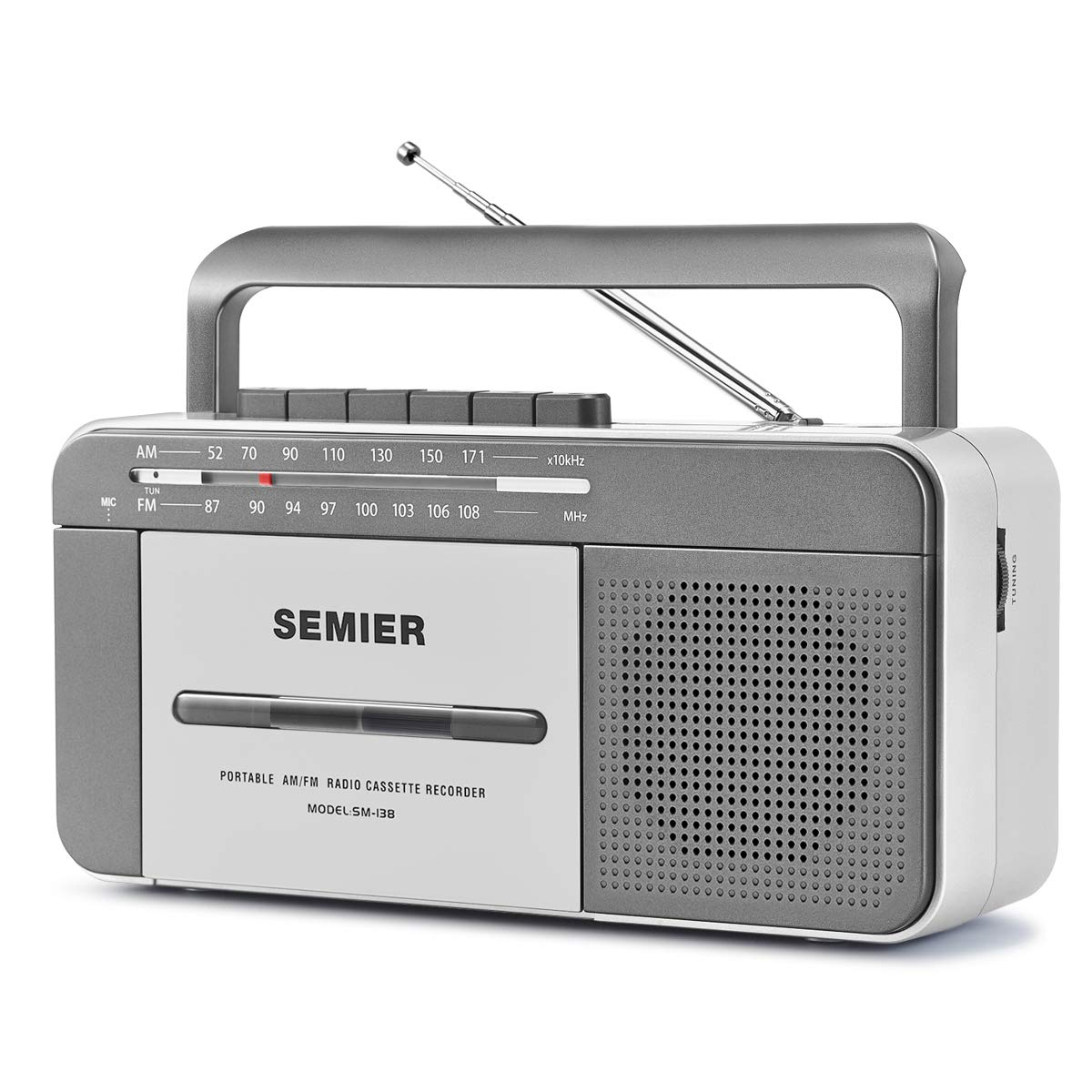 SEMIER Portable Boombox Retro Tape Cassette Player/Recorder with AM/FM Radio Stereo Build in Speakers, Headphone Jack, Battery Operated by 4xC Cell Batteries or AC Power