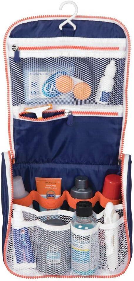 mDesign Neceser de Viaje – Bolsa de Aseo de poliéster y plástico para Colgar – Neceser para Productos de Belleza y Aseo, con Cremallera y múltiples Compartimentos – Azul Marino/Blanco/Naranja
