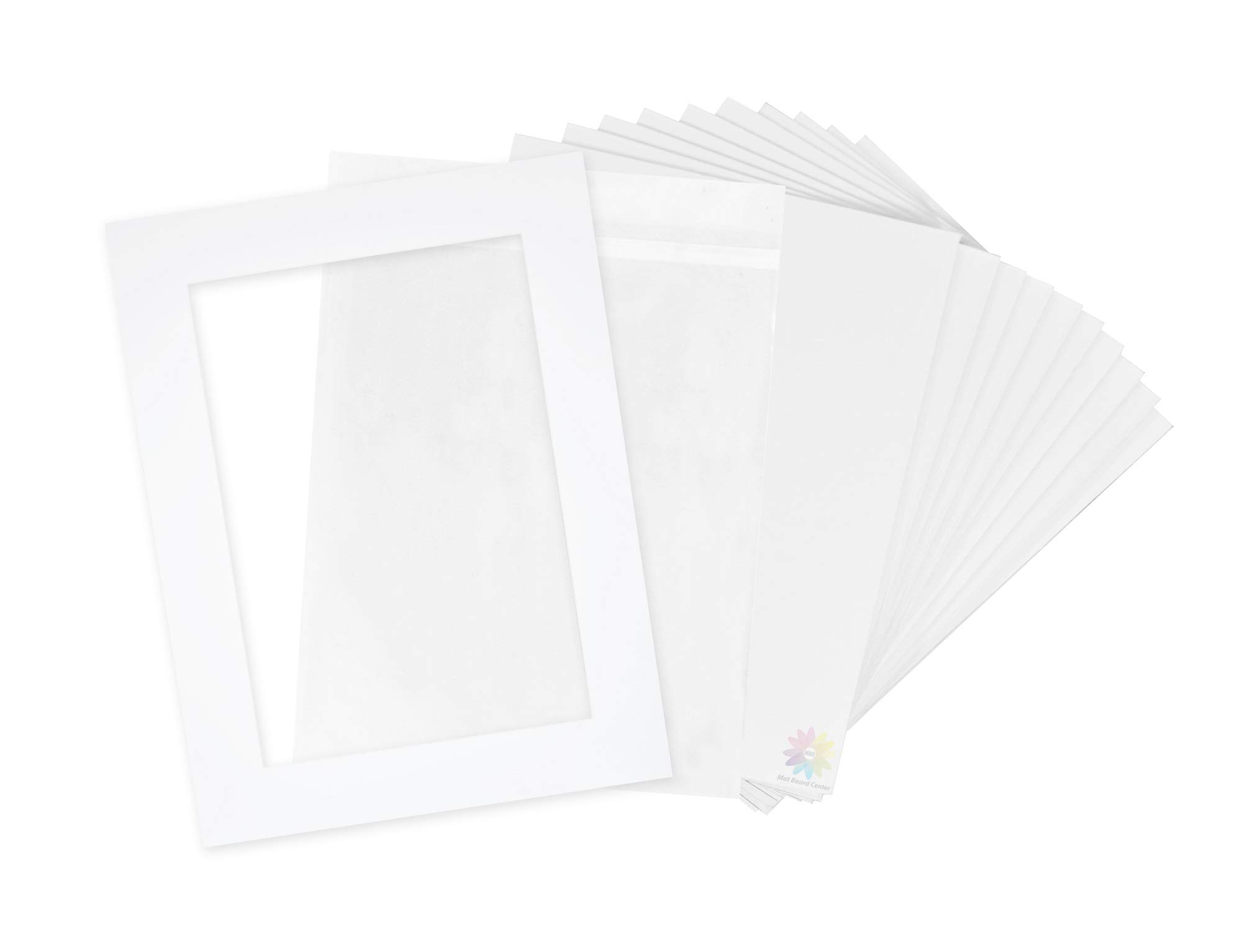 Pack of 10-18x24 Pre-Cut 13x19 - White Mats - for Pictures, Photos, Framing - Kit Includes: 10 White Backboards and 10 Clear Bags - Acid Free, 4-ply Thickness, White Core by MBC MAT BOARD CENTER