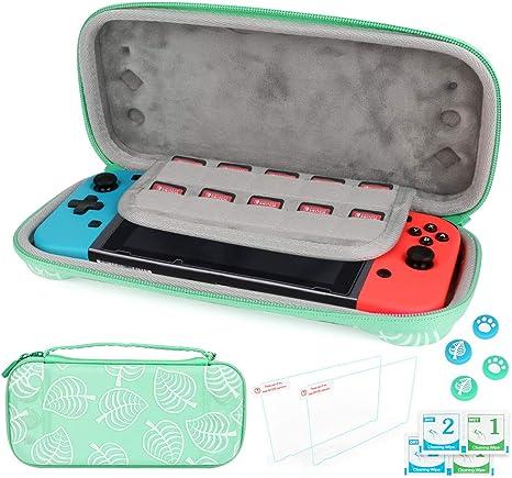 Estuche portátil para Nintendo Switch Lite, Maxjaa Estuche rígido para Nintendo Switch con 2 protectores de pantalla de vidrio templado y 2 estuches de silicona para Joy-Con y Joystickers (Verde): Amazon.es: Videojuegos