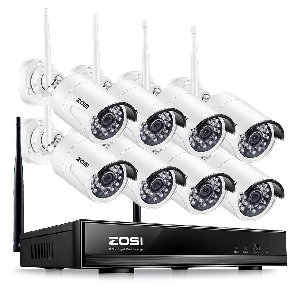 ZOSI Full HD 1080P Wireless Security Camera System 8CH Wireless Surveillance NVR Systems and (8) HD 2.0 Megapixel 1920x1080 WiFi Indoor Outdoor IP CCTV Cameras No Hard Drive (Renewed) by ZOSI