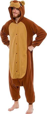 ffde749a0dd0 Silver Lilly Unisex Adult Pajamas - Plush One Piece Cosplay Teddy Bear  Animal Costume (Brown