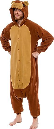 d9ca65b8744 Amazon.com  Silver Lilly Unisex Adult Pajamas - Plush One Piece Cosplay Teddy  Bear Animal Costume  Clothing