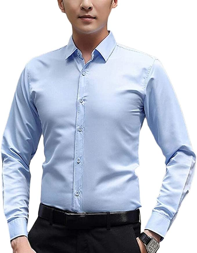 shinianlaile Mens Classic Solid Long Sleeve Button Down Slim Fit Formal Dress Shirts