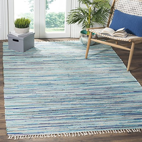 (Safavieh Rag Rug Collection RAR129C Hand Woven Turquoise and Multi Cotton Area Rug (4' x 6'))